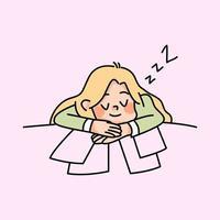 lat tjej som sover på jobbet oproduktiva arbetare söt tecknad illustration vektor