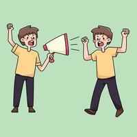 wütende Leute, die Protest niedliche Karikaturillustration sammeln vektor