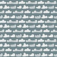 söta doodle moln sömlösa mönster i skandinavisk stil. vektor handritade barn tapeter, semester