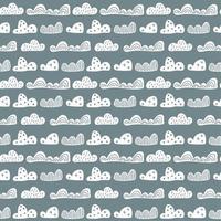 nahtloses Muster der niedlichen Gekritzelwolken im skandinavischen Stil. Vektor Hand gezeichnete Kinder Tapeten, Urlaub
