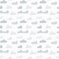 nahtloses Muster des niedlichen Gekritzelwolkenkindes im skandinavischen Stil. Vektor Hand gezeichnete Kinder Tapeten, Urlaub