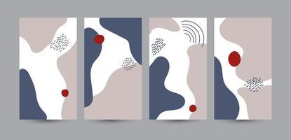 Satz von abstraktem Design. Vektor Social Media Story Vorlage mit bunten Blumenelementen. modernes flaches Illustrationsdesign für Webdesign, Feiertage