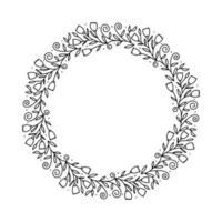 runda kalligrafiska vektor bröllop ram krans med plats för text. isolerade blomstra vintage element för design. perfekt för semestrar, tacksägelsedag, alla hjärtans dag, gratulationskort