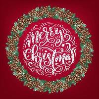 realistischer Weihnachtsvektorkranz mit roten Beeren auf immergrünen Zweigen und Text frohe Weihnachten. mas Illustration für Grußkarte vektor