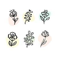 Vektorsatz botanische Elemente - Wildblumen, Kräuter. Sammlungsgarten und wildes Laub, Blumen, Zweige. Illustration isolierte Pflanzen auf weißem Hintergrund vektor