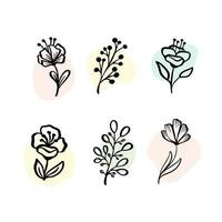 vektor uppsättning botaniska element - vildblommor, örter. samling trädgård och vilda lövverk, blommor, grenar. illustration isolerade växter på vit bakgrund