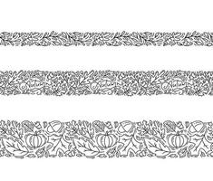 Satz nahtlose Muster Ornament Monoline mit Eicheln, Kürbis und Herbst Eiche Blätter in schwarz. Perfekt für Tapeten, Geschenkpapierfüllung, Webseitenhintergrund, Grußkarte vektor