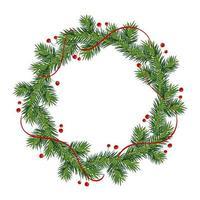 nyår och julkrans. vinterkrans med röda järnekbär på gröna grenar, isolerad på vit bakgrund. gratulationskort. lycklig xmas vektor retro semester design