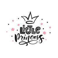 liten prinsessa kalligrafi bokstäver handritad skandinavisk illustration med krona och stjärnor. rosa och svart dekorativ bakgrundsvektor. affischdesign med text vektor