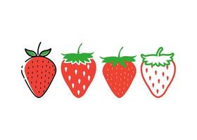 jordgubb ikon designuppsättning vektor