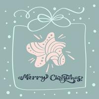 god jul kalligrafisk text. jul bakgrund med julstjärna, ramlåda och andra element. vektormall för gratulationskort med plats för text. vinter ram isolerad