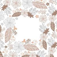 Herbstblätter, Beeren und Blumen begrenzen Rahmenhintergrund mit Raumtext. saisonale Blumenahorn Eiche orange Blätter für Erntedankfest vektor
