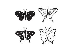 Schmetterlingsikonen-Entwurfsschablonenvektor isolierte Illustration
