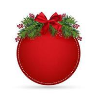 Weihnachtsdesign, realistischer roter Rahmen mit Schleife. Neujahrsbaumschmuck und Zweige mit Beeren. Vektorillustration, lokalisiert auf Weiß vektor