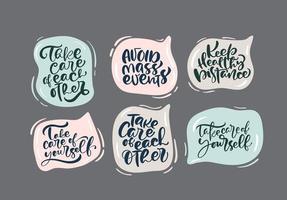 uppsättning handbokstäver för vistelsekampanjen. skyddar mot coronavirus eller covid-19-epidemin, hashtags i pratbubblor. självisolering, karantänfraser för sociala medier, klistermärken, taggar vektor