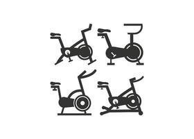 stationäres Fahrrad Symbol Design Set vektor