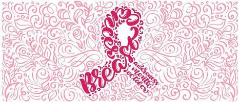 stiliserade rosa banner med vektor citat bröst canser för oktober är cancer medvetenhet månad kalligrafi bokstäver illustration på rosa blomstra bakgrund