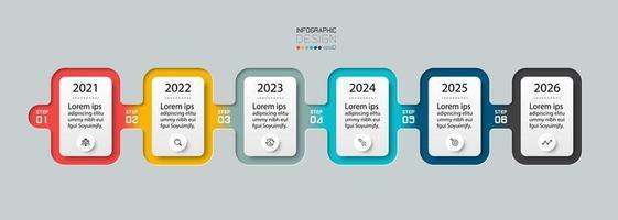 6 Schritte mit quadratischem Design beschreiben und veranschaulichen die Ergebnisse zukünftiger Arbeiten oder Planungen. Vektor-Infografik.