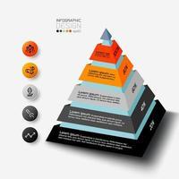 Das Pyramidendesign kann verwendet werden, um Berichte über Analysen zu beschreiben und die Ergebnisse in Prozent zu untersuchen. Vektor-Infografik. vektor