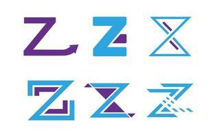 uppsättning z brev logotyper
