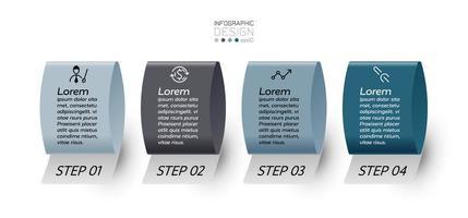 4 Schritte des Bandformdesigns für die Kommunikation in verschiedenen Arbeitssystemen, Präsentation, Analyse. Infografik. vektor