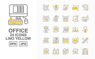 25 Premium Office II Linol Gelb Icon Pack vektor