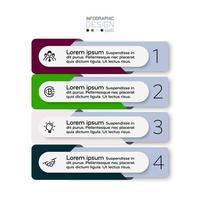 Die Datenpräsentation in 4 Schritten des Designquadrats gilt für das Marktforschungsgeschäft. Infografik. vektor