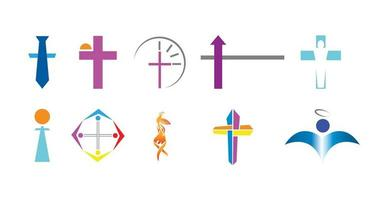 Satz von zehn christlichen Logos vektor