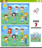 Unterschiede pädagogische Aufgabe mit Cartoon-Kindern vektor