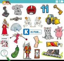 bokstaven k ord pedagogisk uppgift för barn vektor