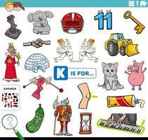 Buchstabe k Wörter Bildungsaufgabe für Kinder vektor
