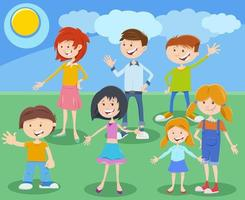 tecknad barn eller tonåringar karaktärsgrupp vektor