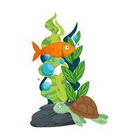 havs undervattensliv, sköldpadda och fisk med tång på vit bakgrund
