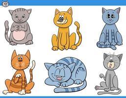 tecknade katter och kattungar teckenuppsättning vektor