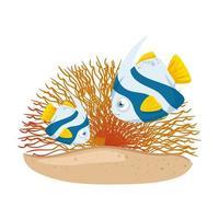 Meer Unterwasserleben, niedliche Fische mit Koralle auf weißem Hintergrund