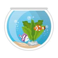 Aquarienfische mit Wasser, Seetang, Aquarium Meerestier vektor