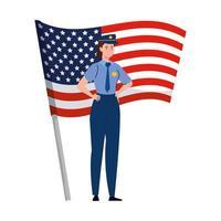 polis man med usa flagga vektor design
