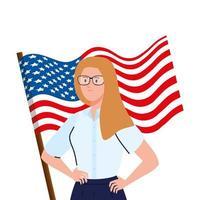 affärskvinna med usa flagga vektor design
