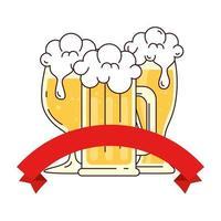 Becher mit Tasse und Glas Bier, mit Banddekoration auf weißem Hintergrund vektor