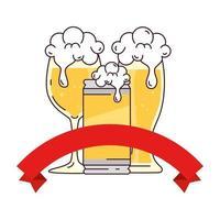 glas, burk och kopp öl på vit bakgrund vektor