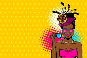 svart afro kvinna popkonst dricka te vektor