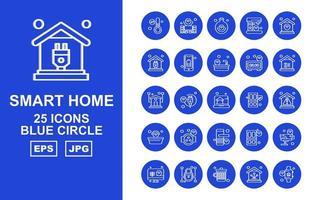 25 Premium Smart Home Blue Circle Icon Pack vektor