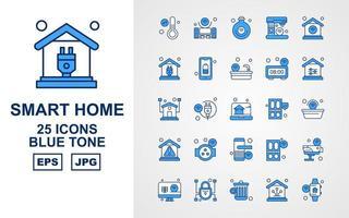 25 Premium Smart Home Blue Tone Icon Pack vektor