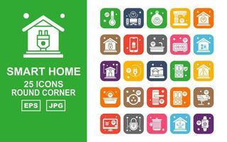 25 Premium Smart Home Round Corner Icon Pack vektor