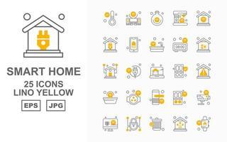 25 Premium Smart Home Linol Gelb Icon Pack vektor