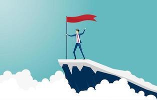 Geschäftsmann klettert auf die Spitze des Berges vektor