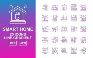 25 Premium Smart Home Line Farbverlauf Icon Pack vektor