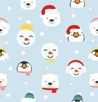 söta tecknade arktiska huvuden julmönster vektor