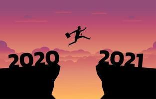 affärsman hoppar mellan 2020 och 2021 vektor