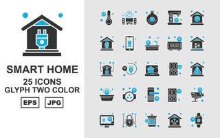 25 Premium Smart Home Glyphen zweifarbiges Symbolpaket vektor